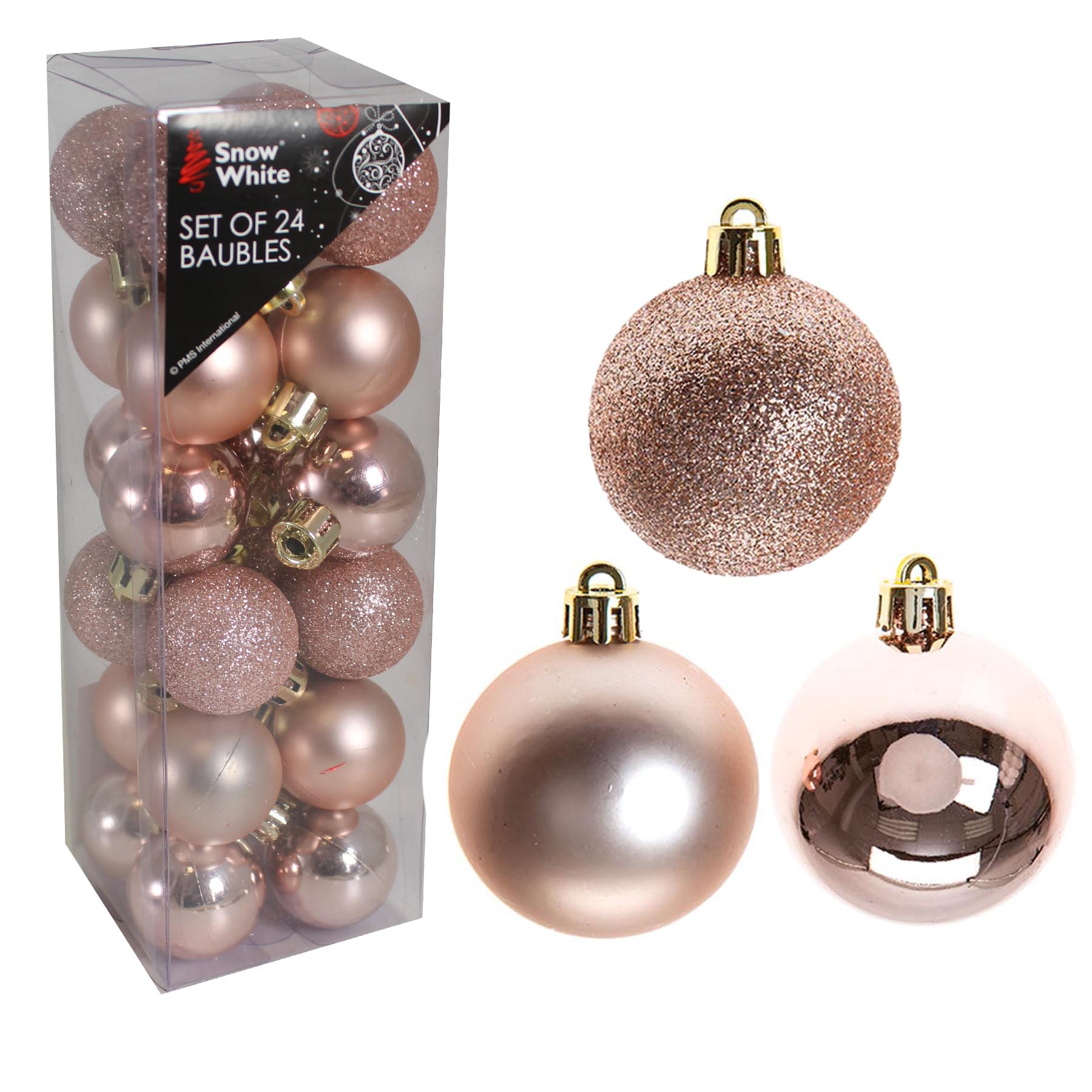 Rose Gold And Silver Christmas Tree Decorations.Details About Snow White Shatterproof Christmas Tree Decoration 24 Pk 30mm Baubles Rose Gold