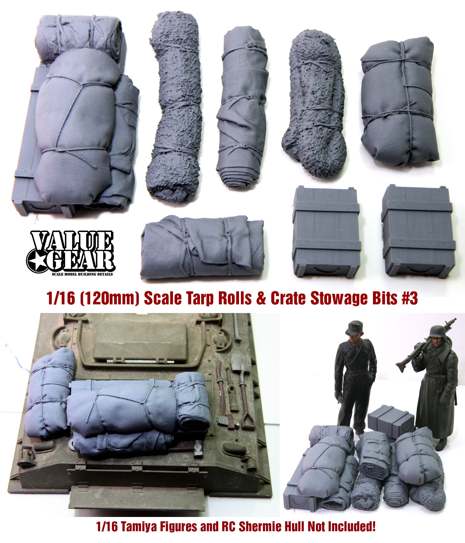 Value Gear Tarp /& Crates Stowage Set #2 1//72 Scale Resin Tent