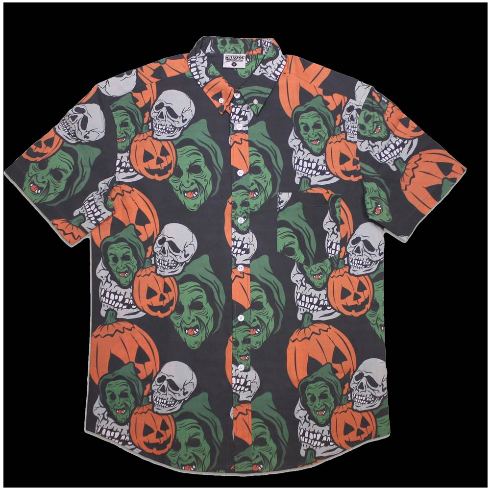 halloween 3 mask button up shirt mens womens horror film h3