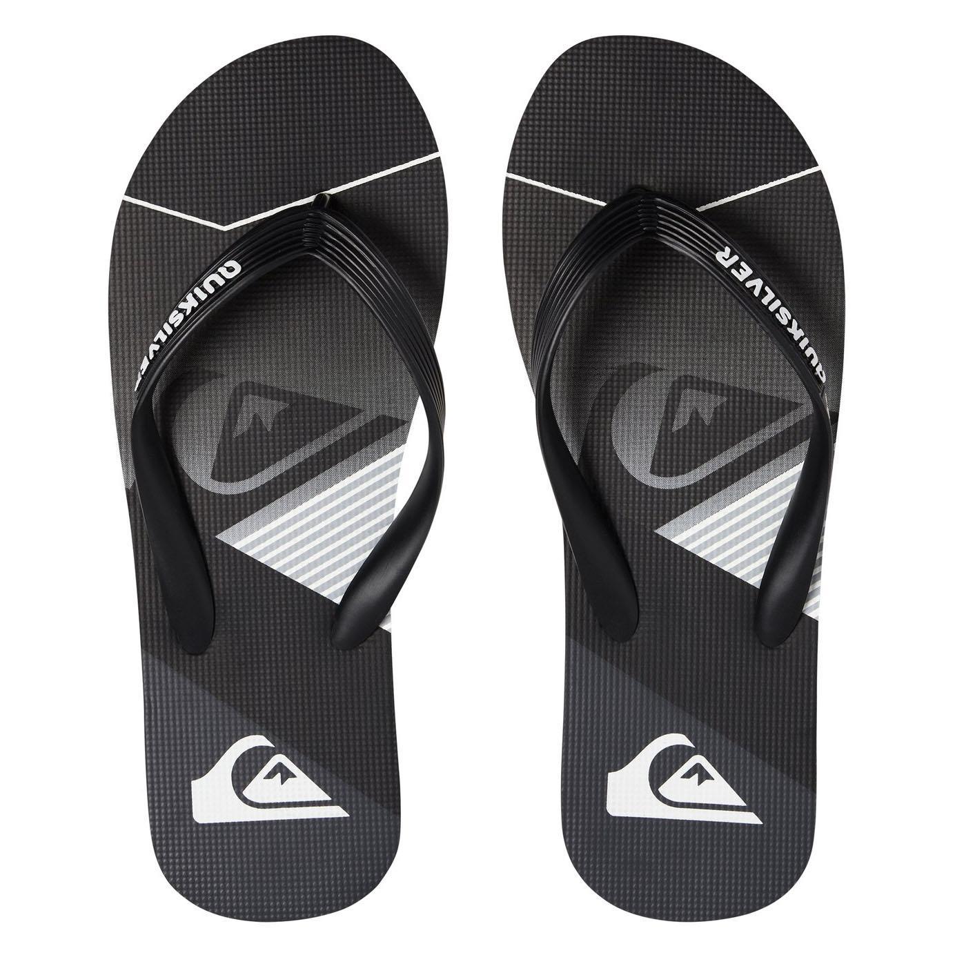 825116d421f QUIKSILVER NEW Mens Molokai Slash Fade Logo Flip Flops Black Grey BNWT