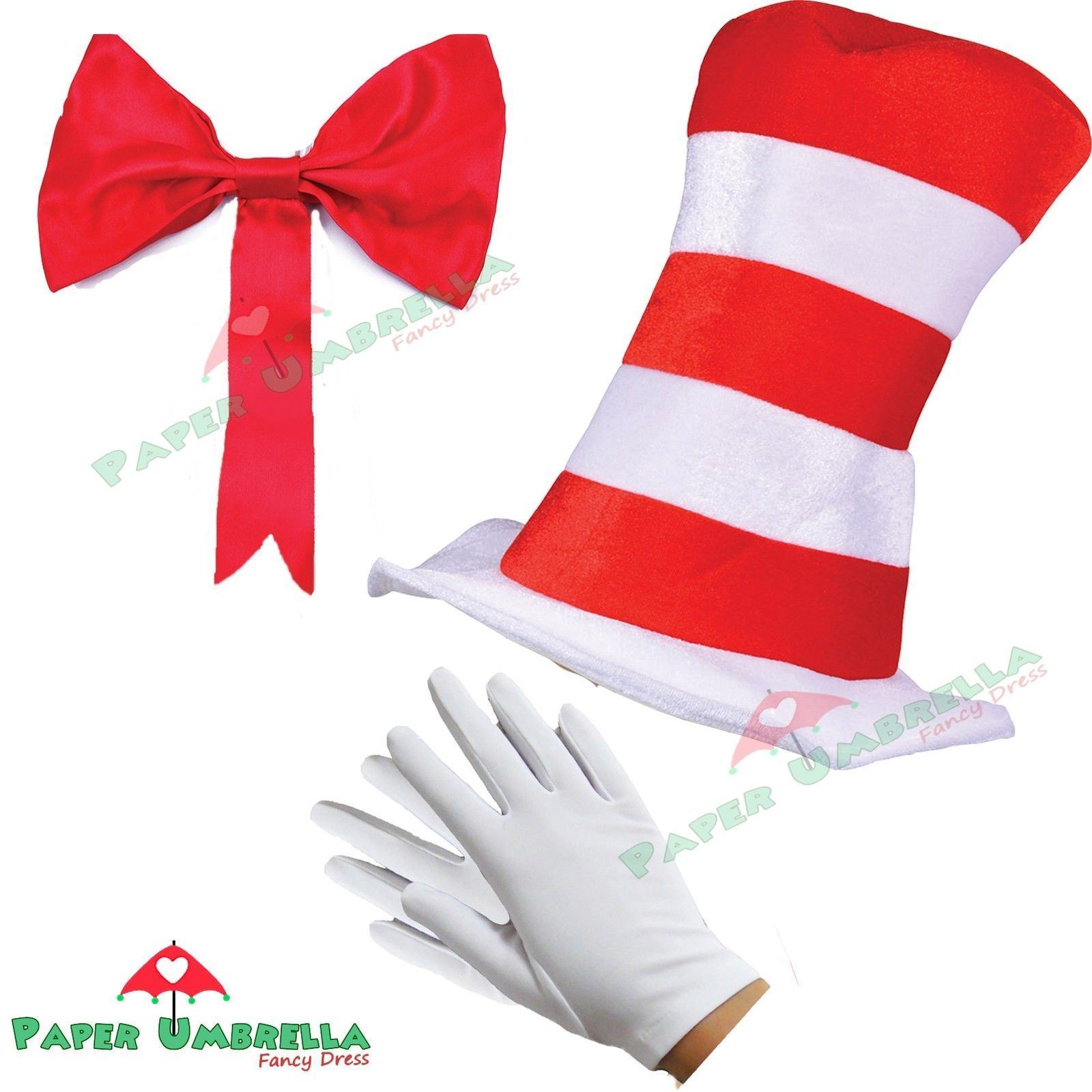 Adult Cat in the Hat Dr Seuss Book Day Week Fancy Dress outfit Unisex Costume