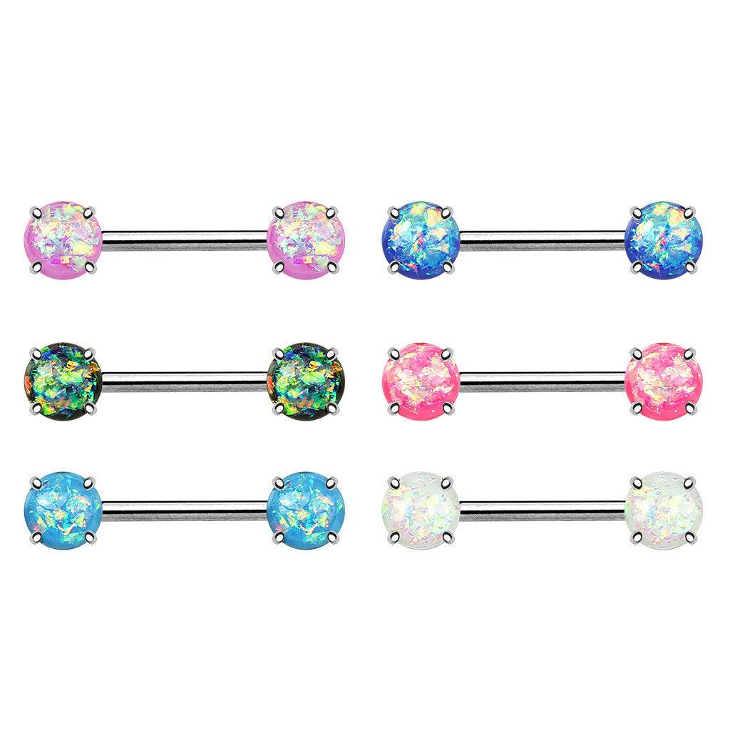 316L Surgical Steel Forward Facing glitter opal nipple Bar Barbell 14 mm length