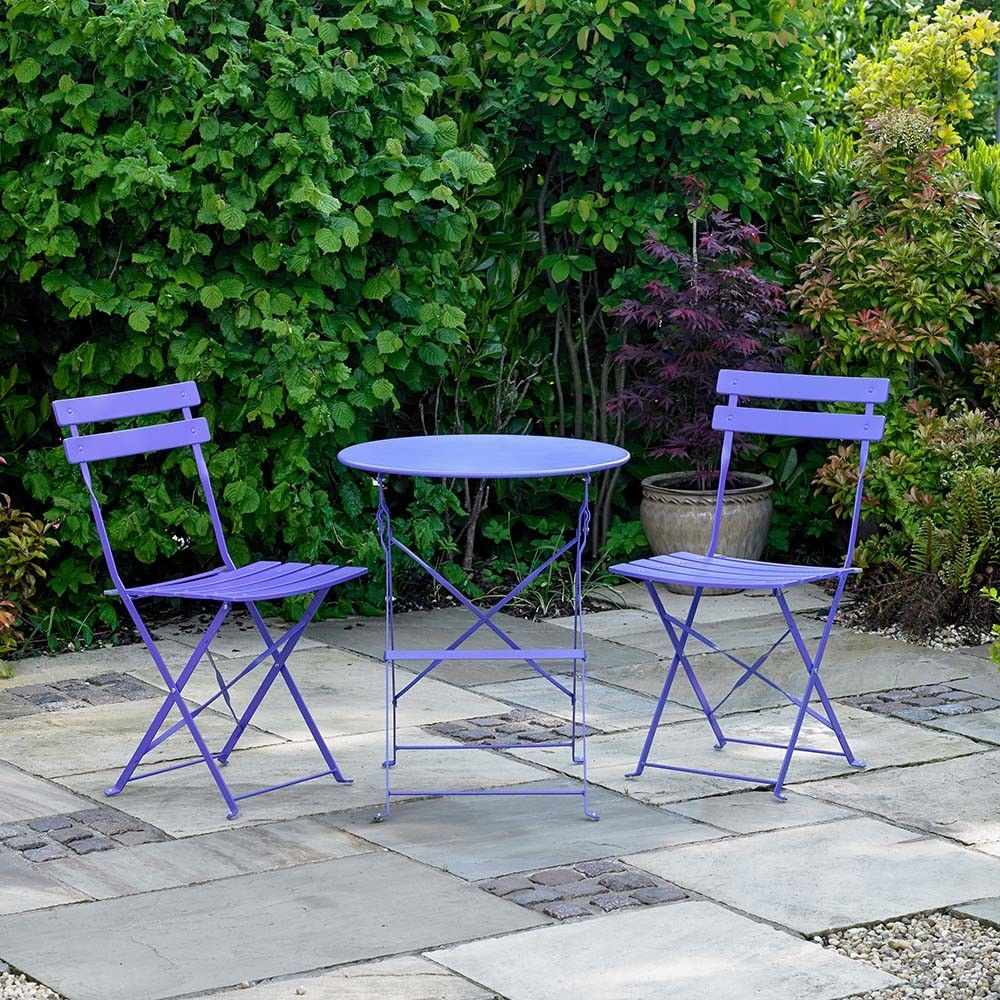 Details About Wido 3 Piece Purple Metal Bistro Folding Patio Outdoor Furnture Table Chairs