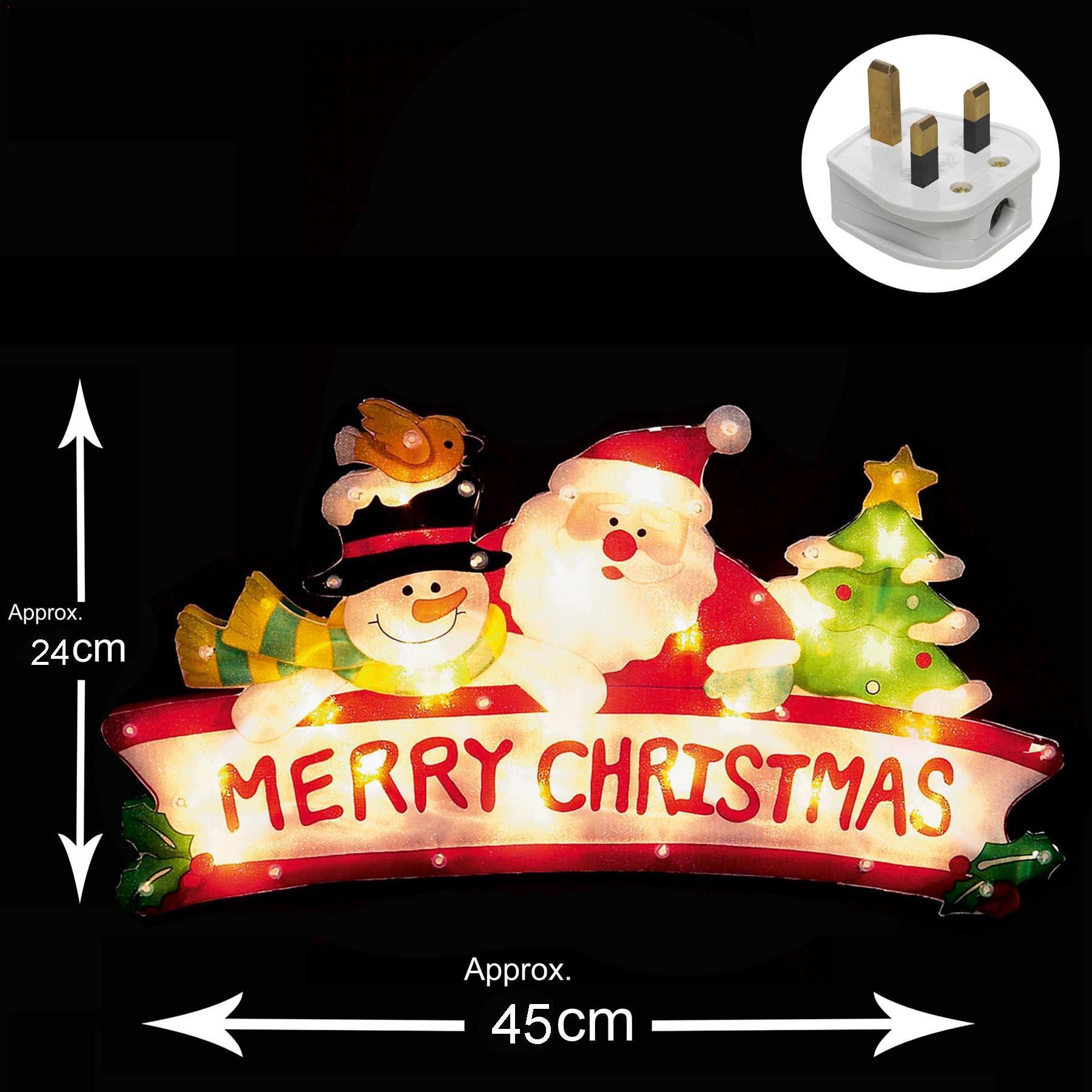 Premier Light Up INDOOR Christmas Window Silhouette - Merry ...