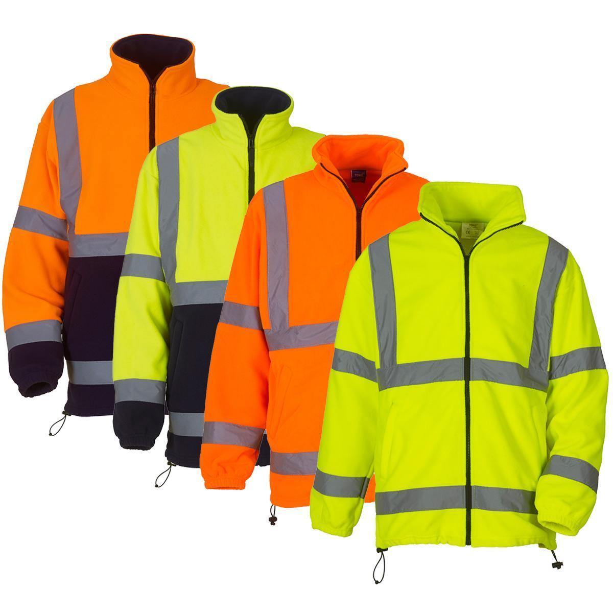 Yoko Mens Hi-Vis Fleece Full Zip Workwear Safety Jacket