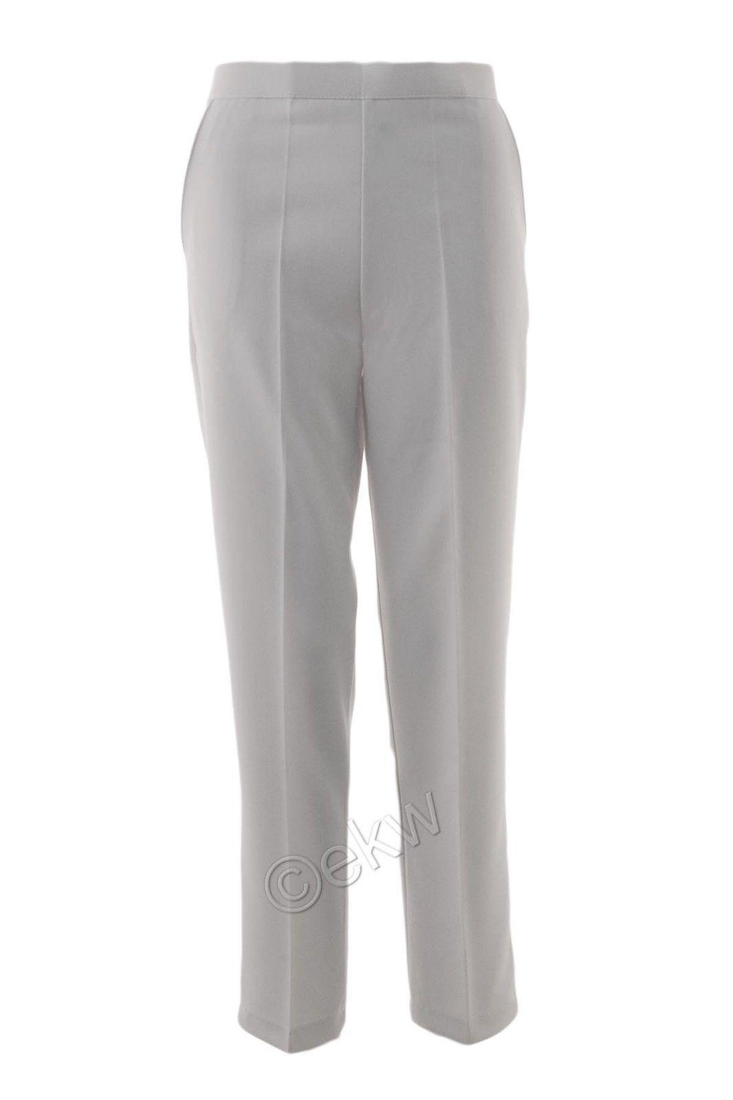 "LADIES STRAIGHT LEG 29/"" TROUSERS GREY PLUS SIZE 26-32"