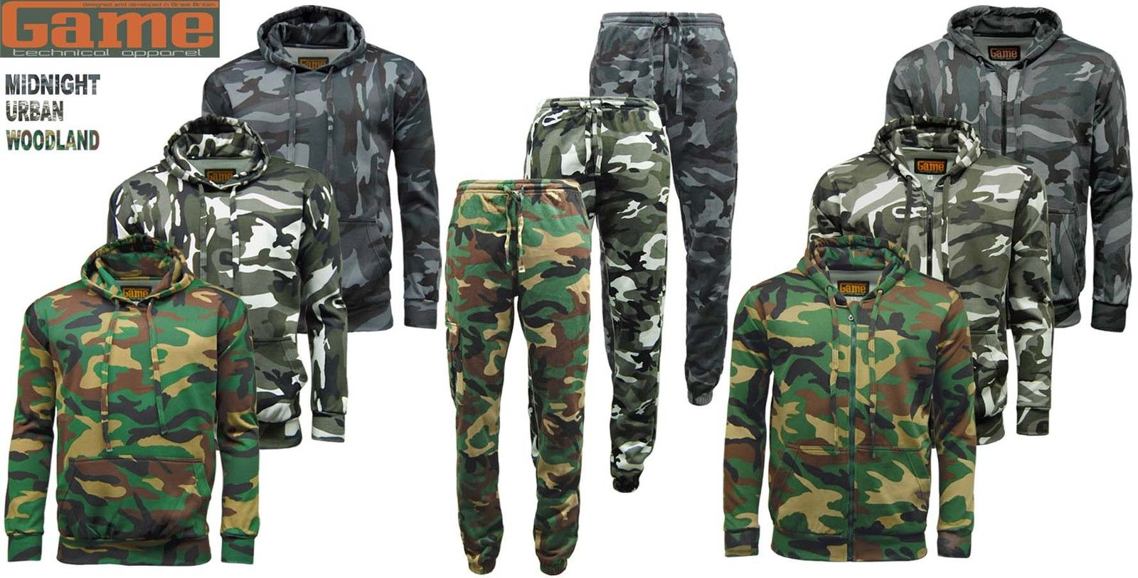 b666e57178497 Mens GAME Army Camo Camouflage Hoody Tracksuit | Hoodie | Zipper | Joggers