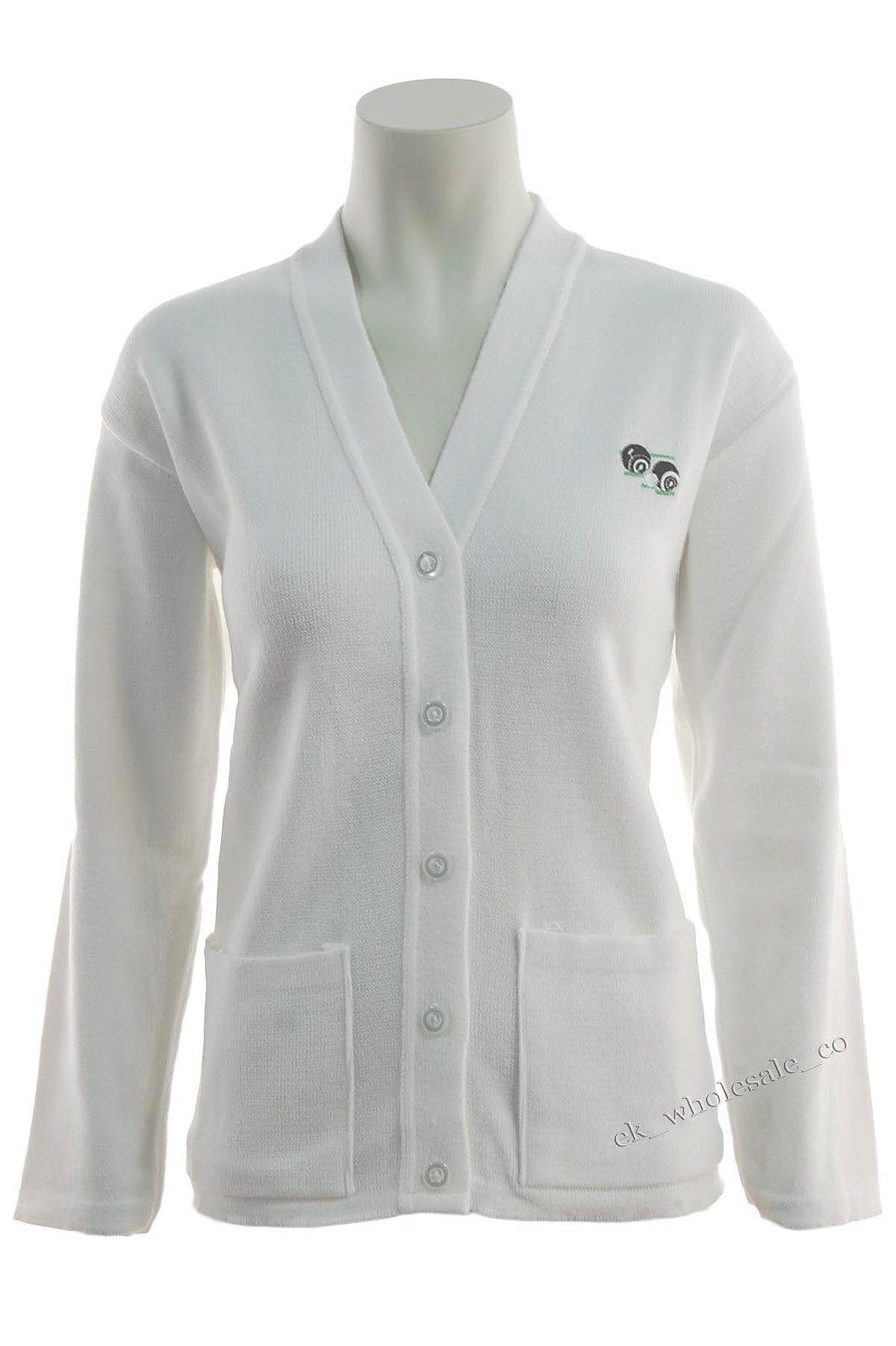 5XL Ladies Bowls Logo Cardigan White Sizes S Womans Bowlswear UK Bowls Jumper
