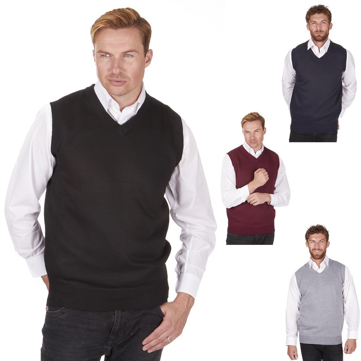 Pierre Roche Mens Sleeveless Knitted Tank Top Smart Casual Jumper Gift Regular