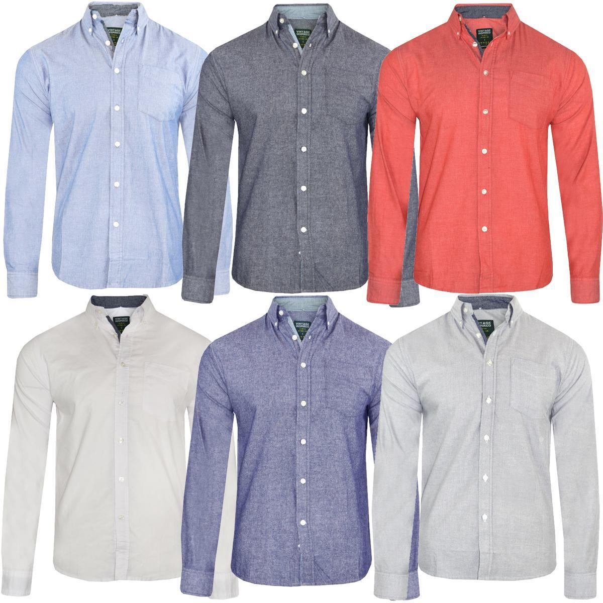 Mens Long Sleeved Oxford Shirt Button Down Collar 100 Cotton Ebay