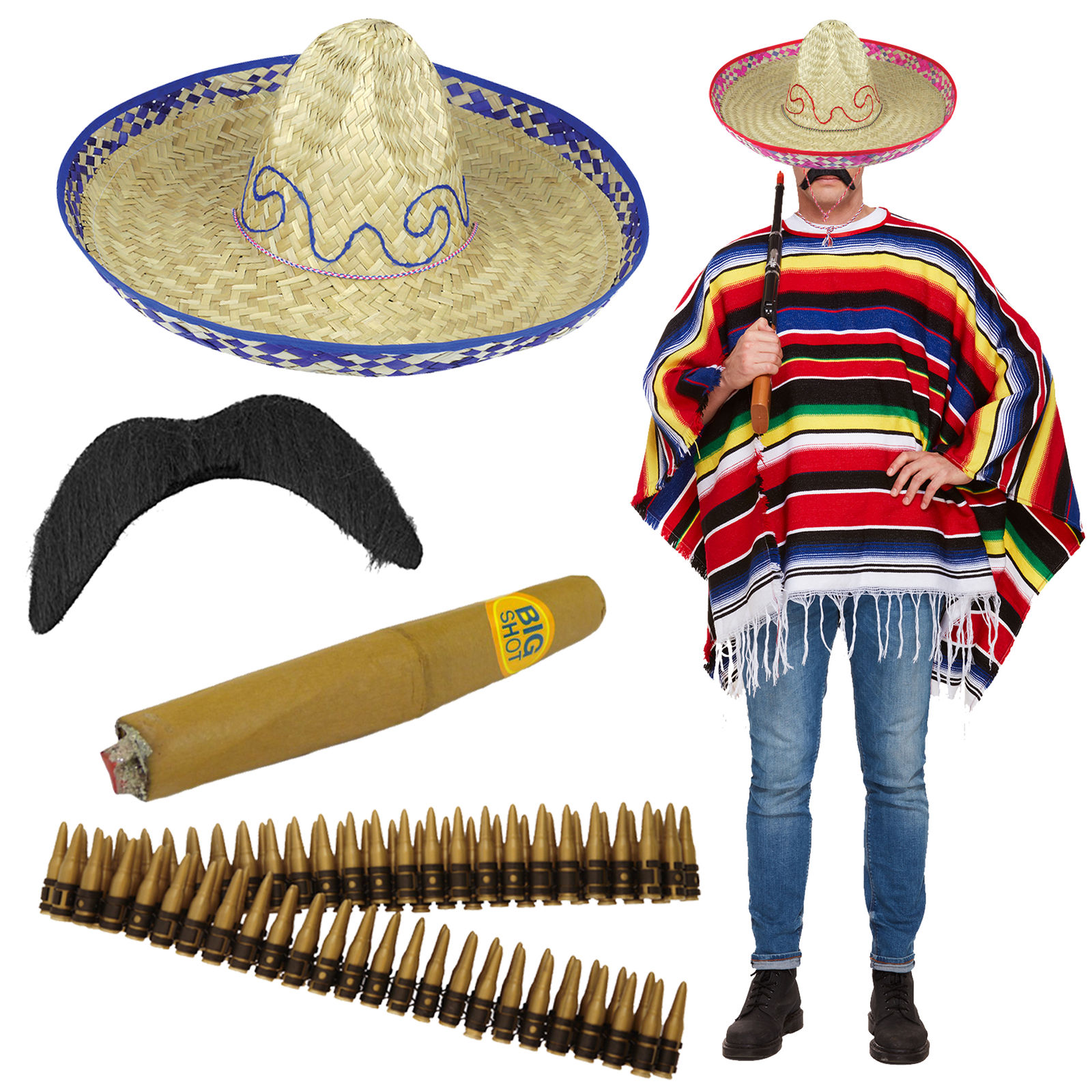 Adult Mexican Poncho Sombrero Stag Night Do Fancy Dress Adult Costume Outfit  New 24349653ae9f