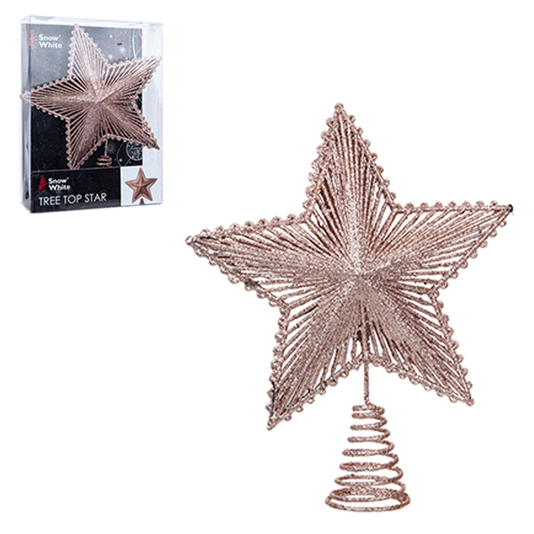 watch 7e152 8cd9f Details about Christmas Tree Top Star 200mm Full Glitter Decoration - Rose  Gold