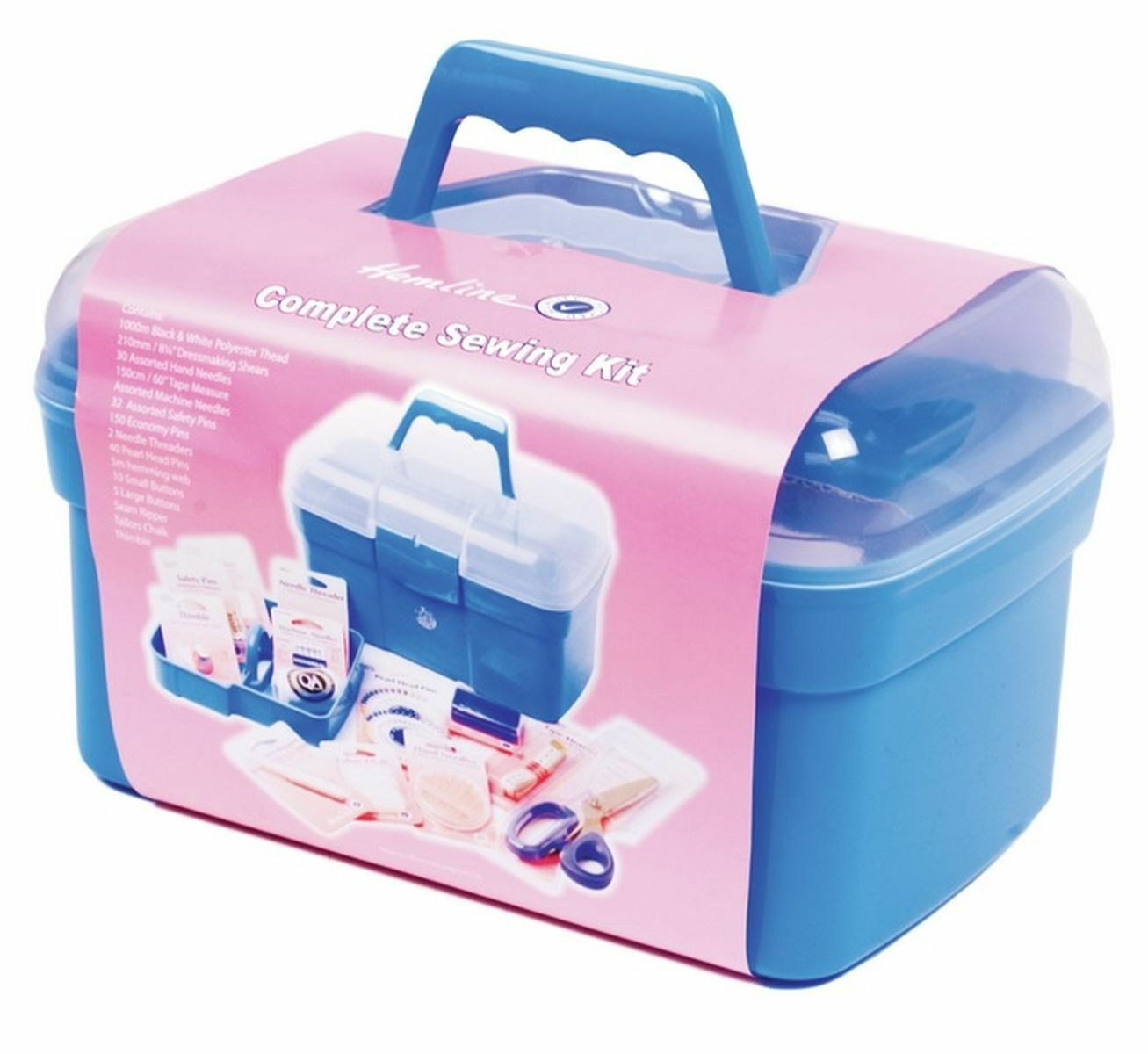 Hemline Complete Deluxe Sewing Box /& Accessories Kit Caddy Box Shears Needles