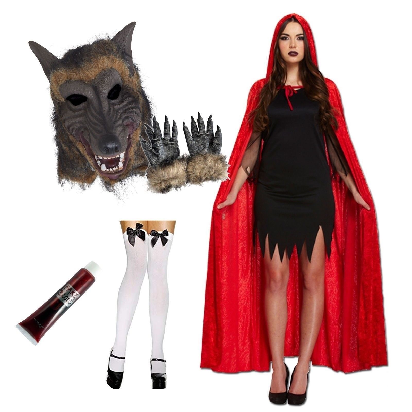 de19738a4cd Details about Red Riding Hood and Wolf Couple Costume Halloween Werewolf  Mask Cape Fancy Dress