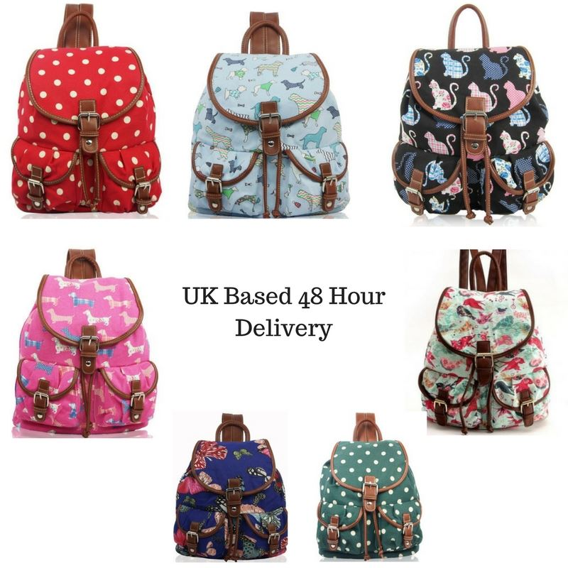 c05dca5ea Details about Women's Canvas Rucksack Girls Printed Backpack Back to School  Bag Dog Cat Print