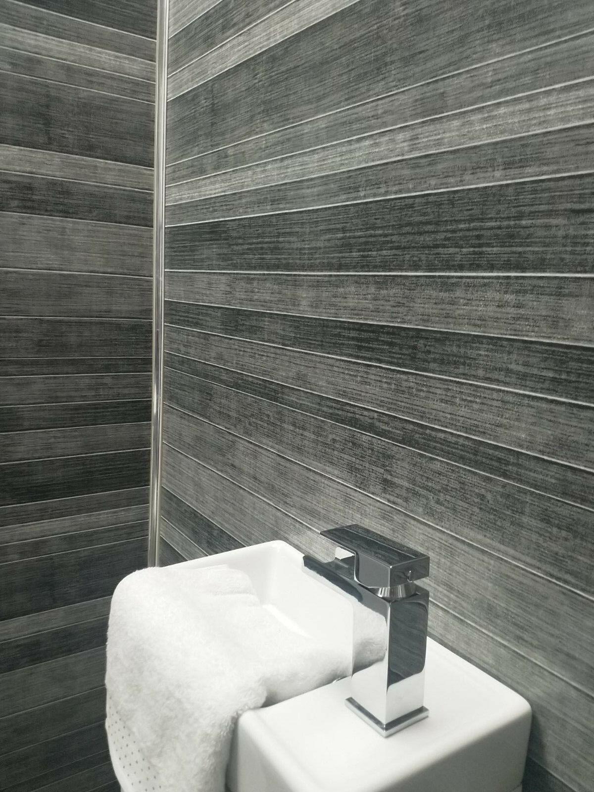 Grey Tile Effect Large Shower Panels Bathroom Wet Wall PVC ...