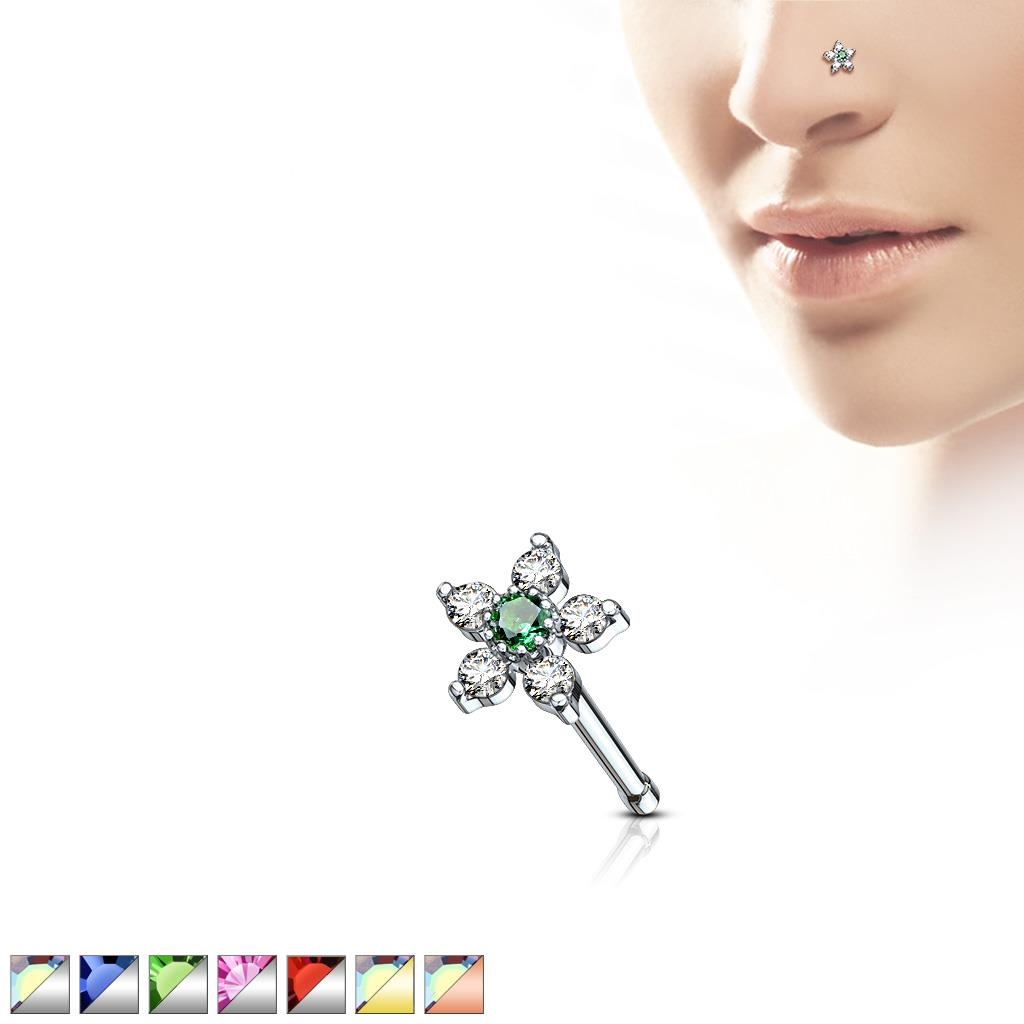 Curved Nose Stud Screw Solid 925 Sterling Silver Aurora Boreale Crystal 0.8mm