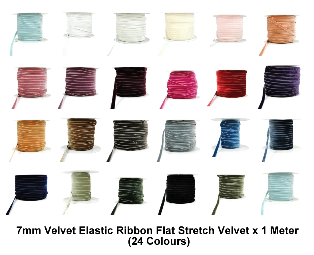 1//3//5//10//25m Peach 7mm Velvet Elastic Ribbon Flat Stretch Velvet Elasticated