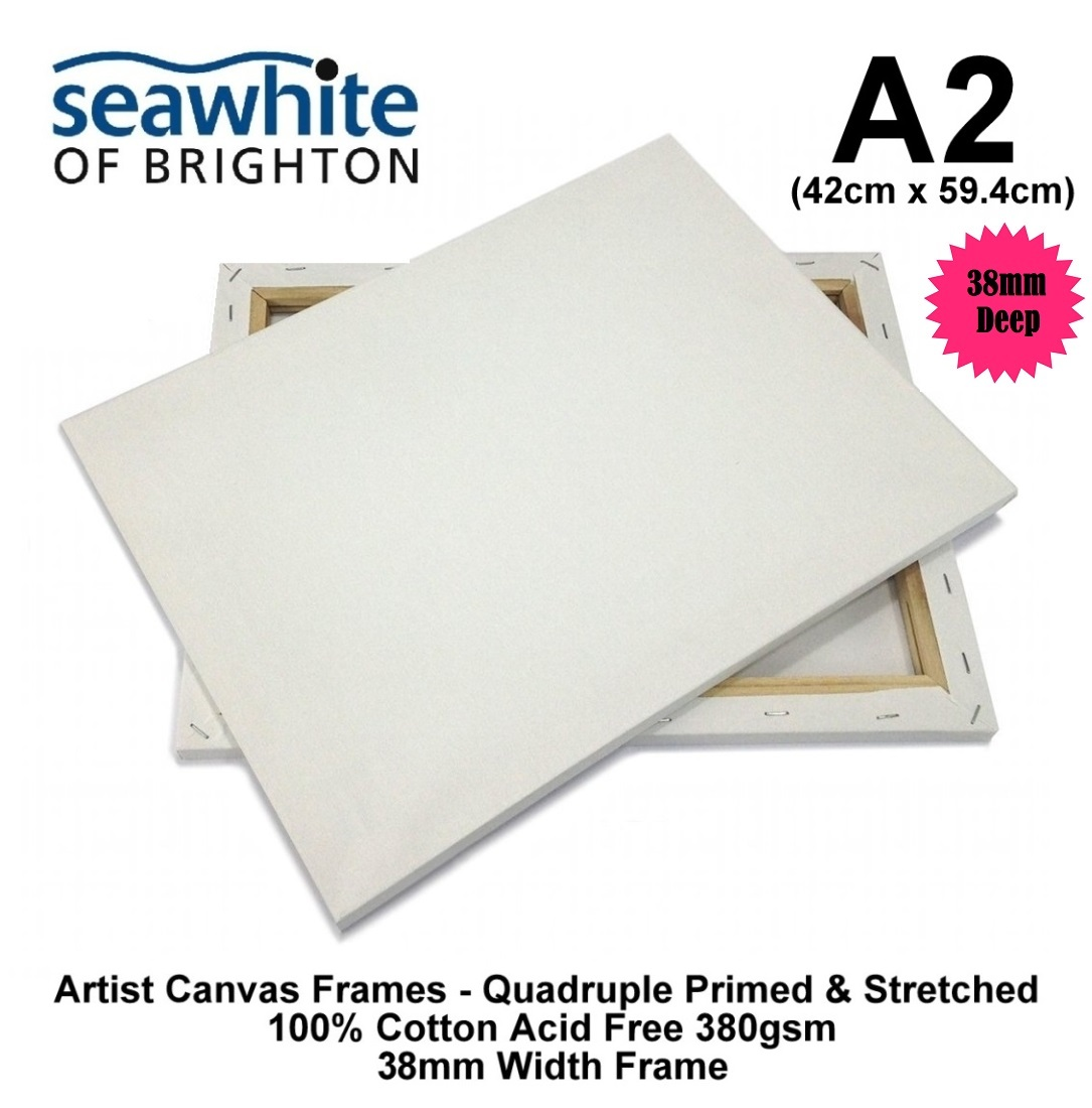1//3//5//10 Seawhite A2 Canvas Frames Stretched Primed Cotton 380gsm 18mm Deep