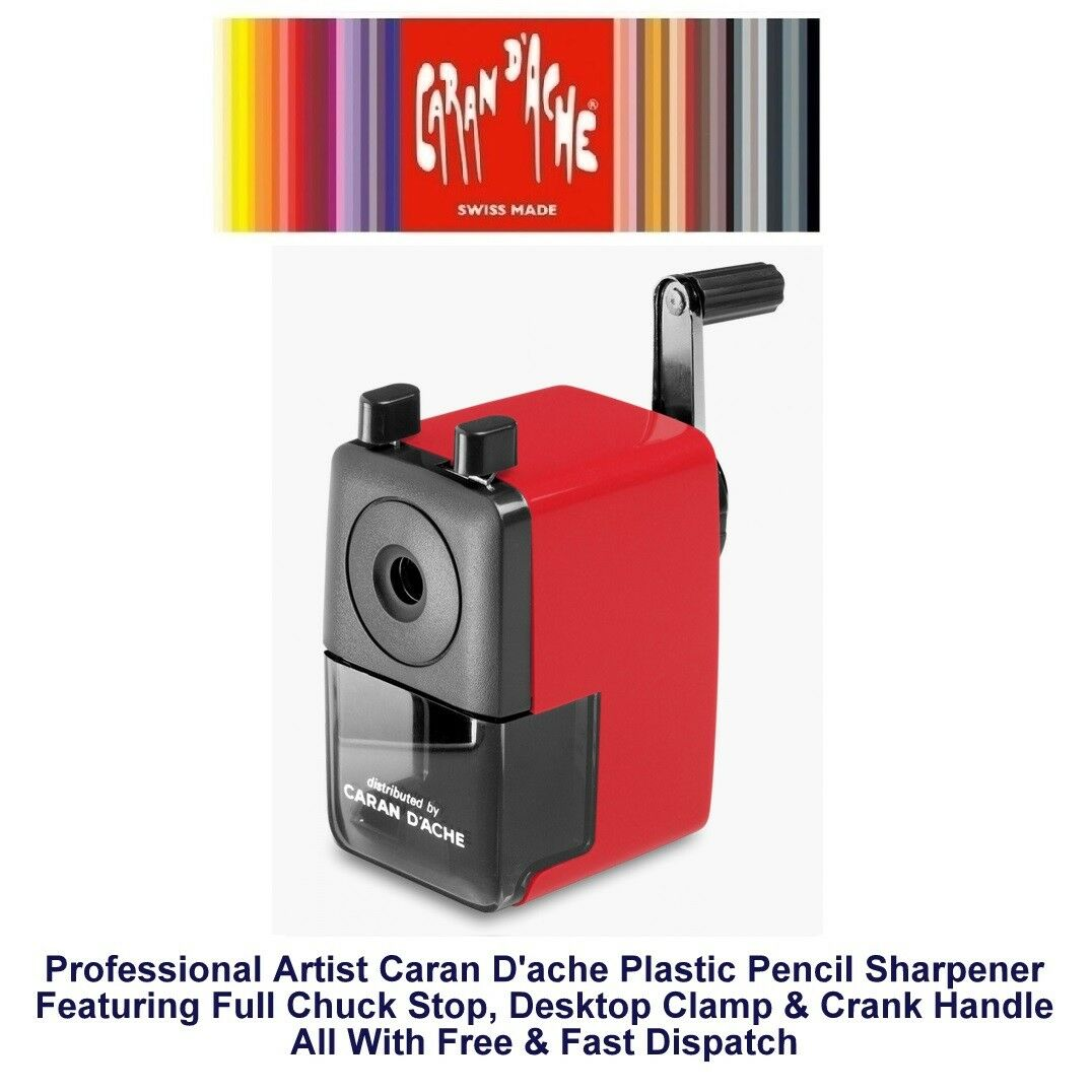 Caran Dache Red Plastic Pencil Sharpener Crank With Full Chuck Stop /& Clamp