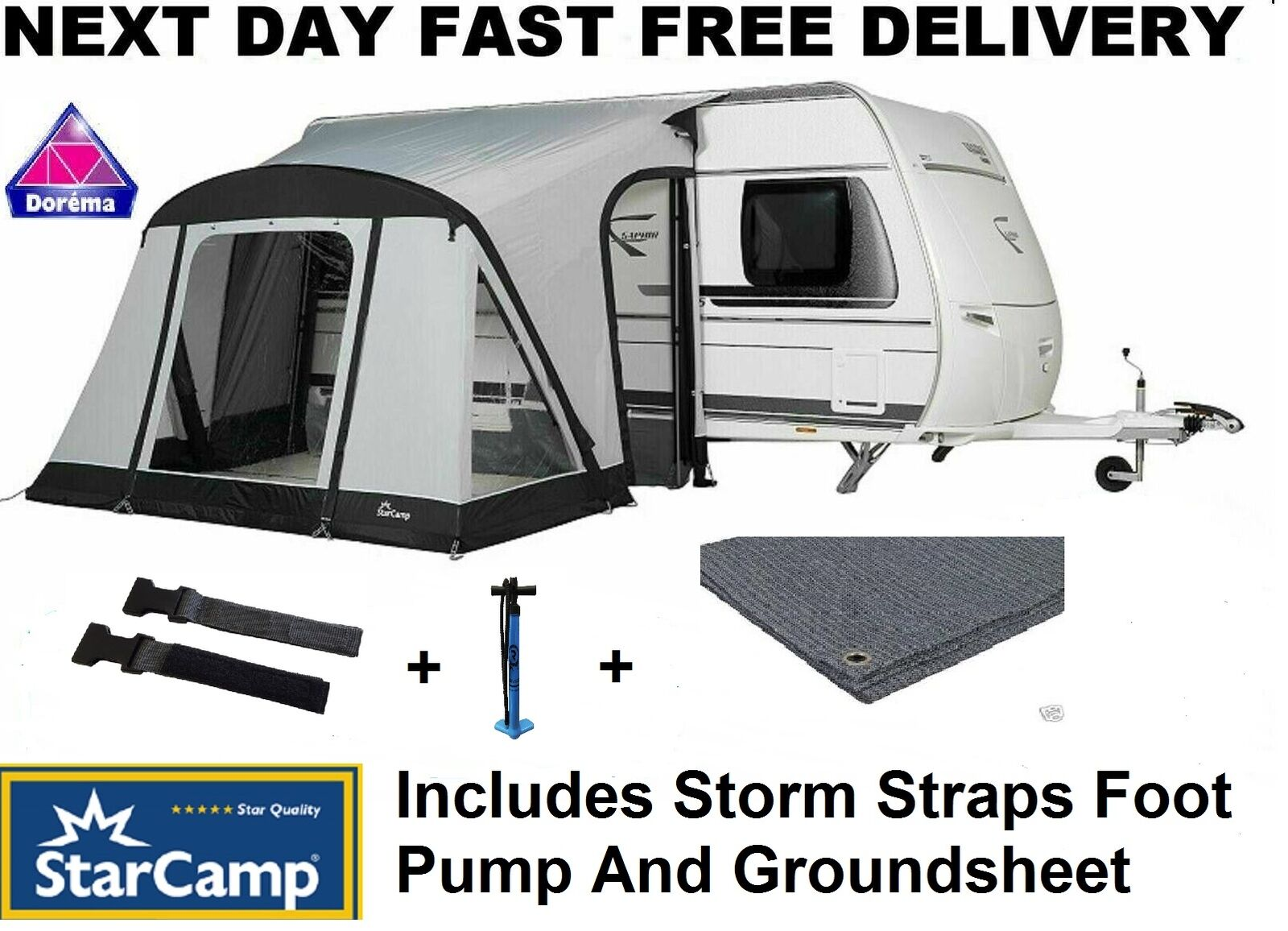 Starcamp Quick And Easy 225 AIR Inflatable Caravan Porch ...