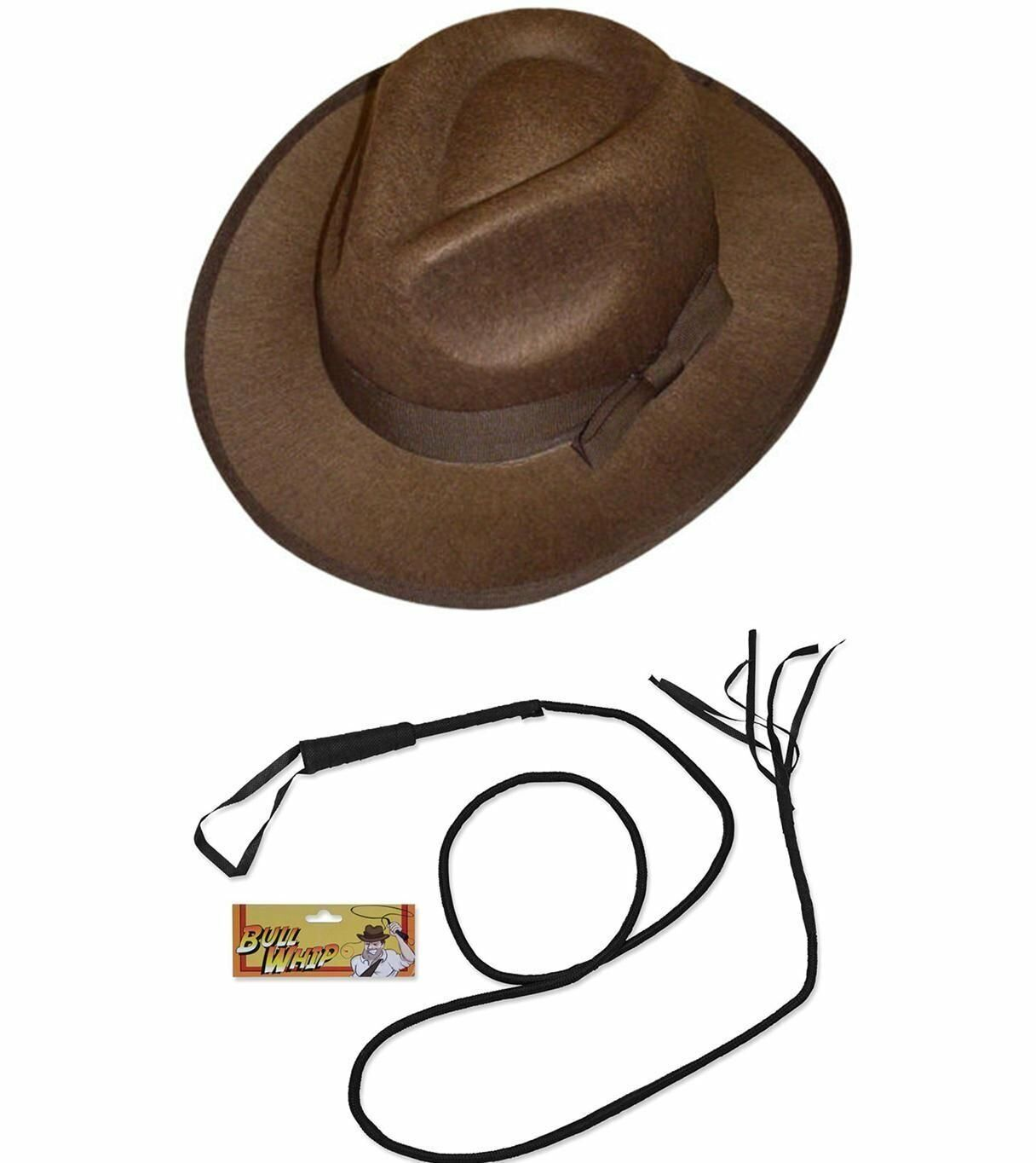Indianna Jones Inspired Adventurer/'s High Quality Whip and Hat Costume Set