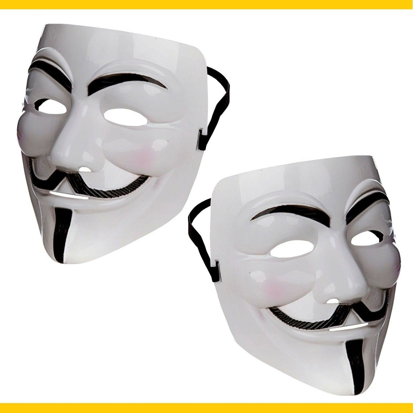 Details about Official Anonymous Hacker Protest V For Vendetta Movie Guy  Fawkes Mask Two Pack!