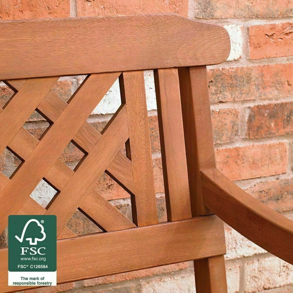 Wido Outdoor 3 Seater Fench Garden Bench Diagonal Slotted