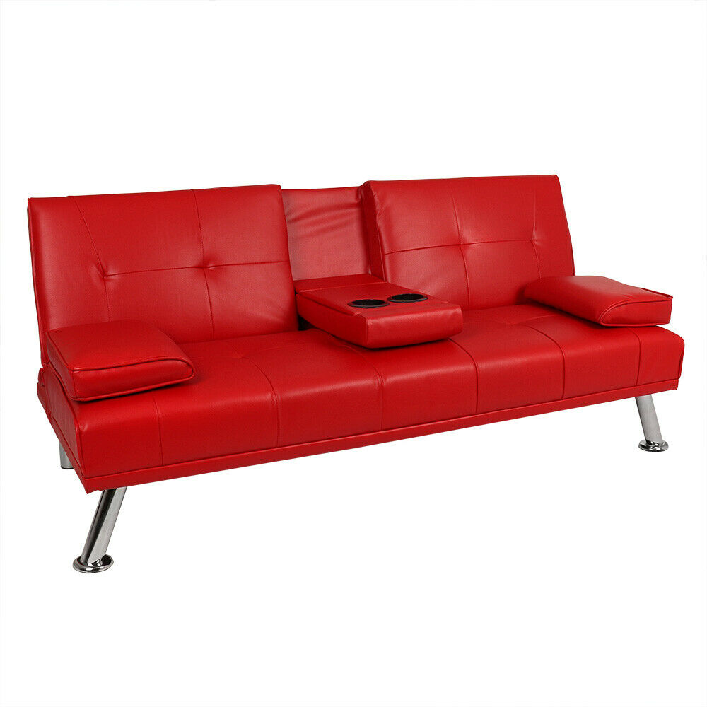 Wondrous Details About Red Faux Leather Sofa Bed Modern 3 Seater Settee Futon Z Bed Armchair Wido Download Free Architecture Designs Philgrimeyleaguecom