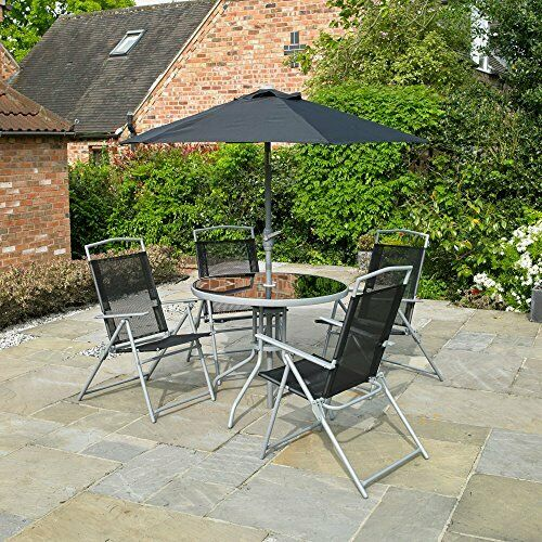 Garden Patio Black 6pc 4 Seater Outdoor Furniture Dining Set Parasol