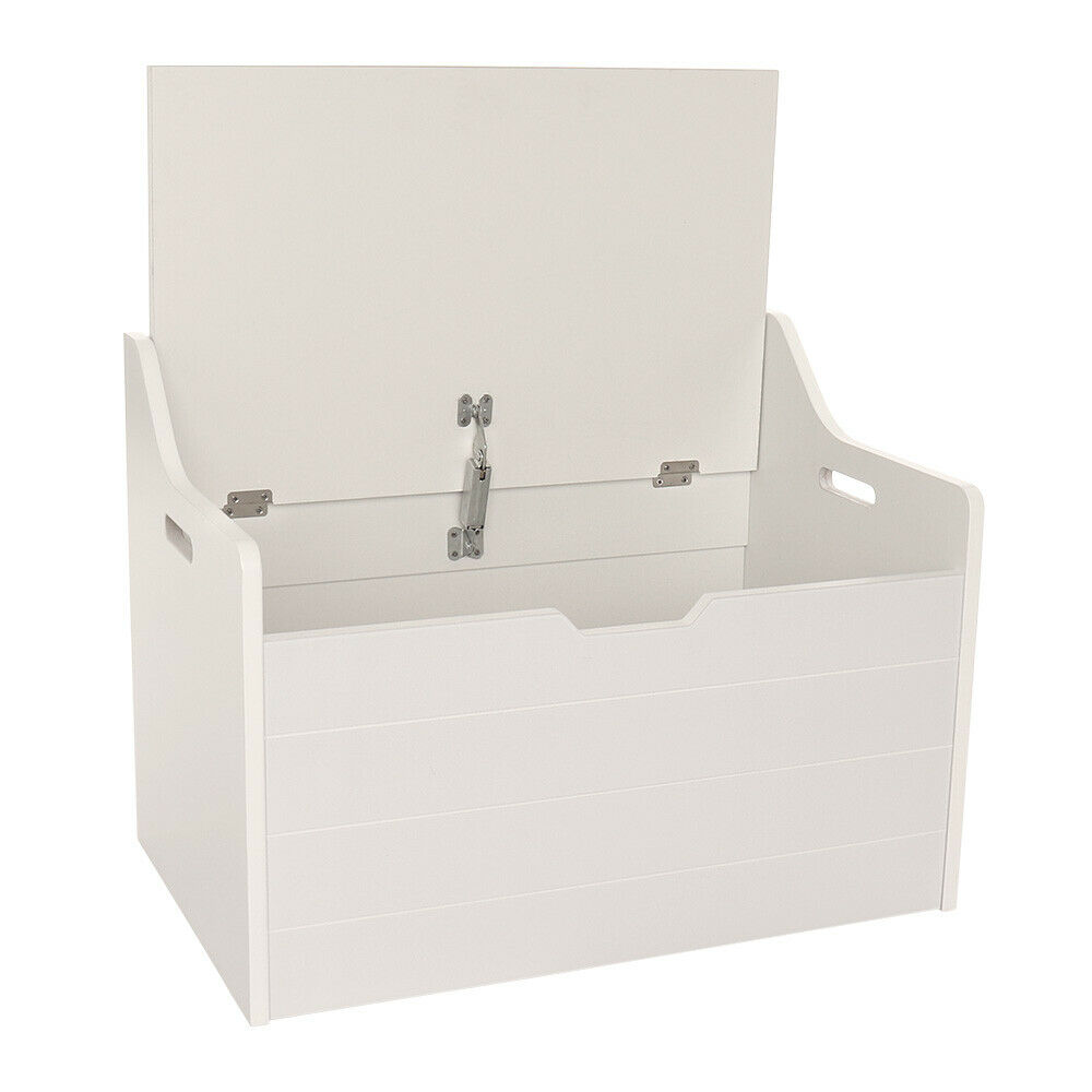 Kids Collapsible Ottoman Toy Books Box Storage Seat Chest: WHITE CHILDRENS TOY BOX CHEST WITH SEAT OTTOMAN STORAGE