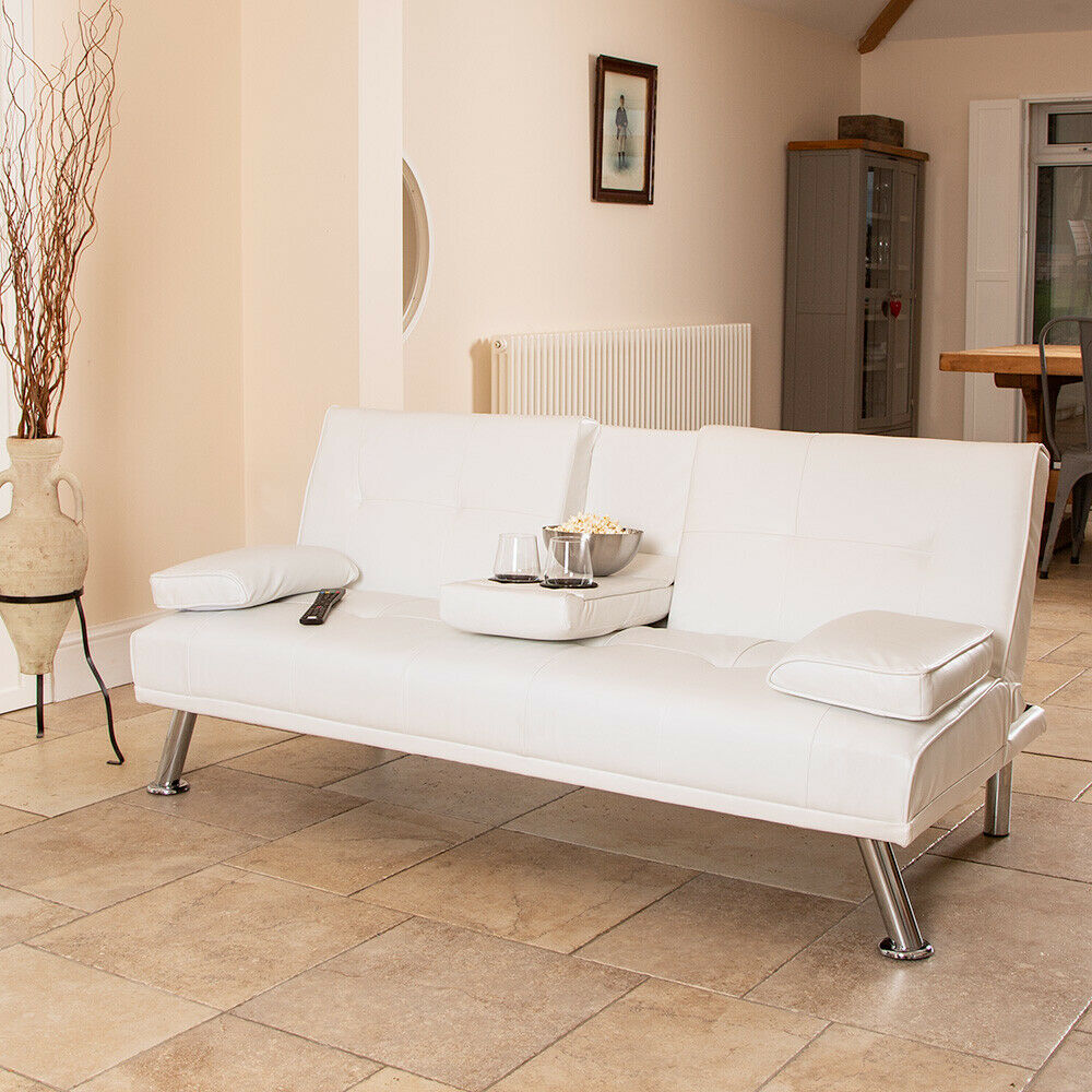 Details About White Faux Leather Sofa Bed Modern 3 Seater Settee Futon Z Armchair Wido