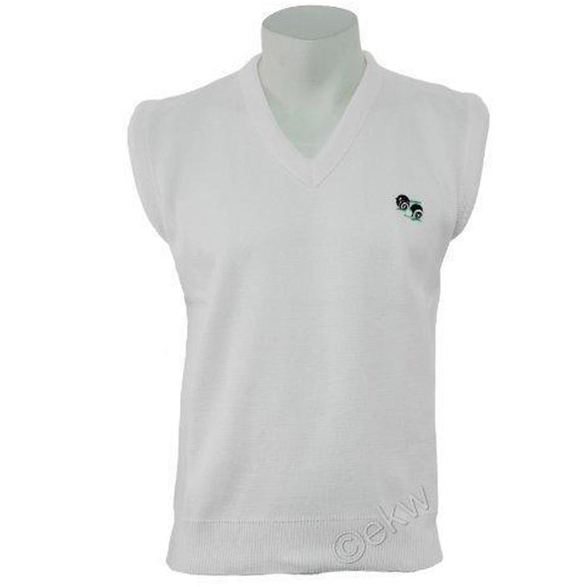MEN'S KNITTED WHITE LAWN BOWLS BOWLING V-NECK JUMPER SWEATER Tank Top