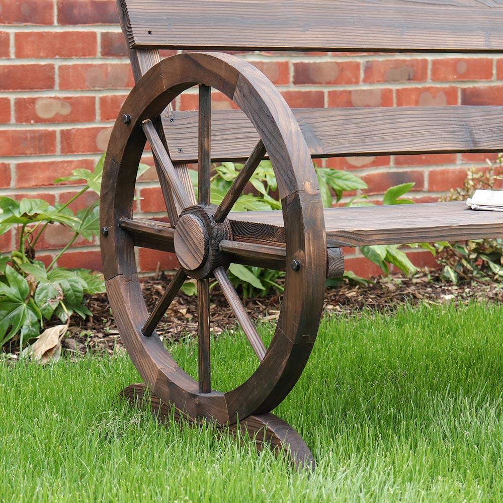 Wooden Wagon Wheel Bench Garden Furniture Country Chair