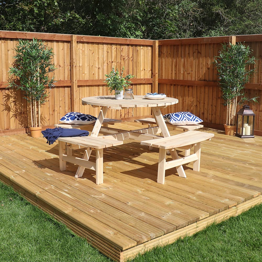 Round Picnic Bench Table Large Wooden Outdoor Garden