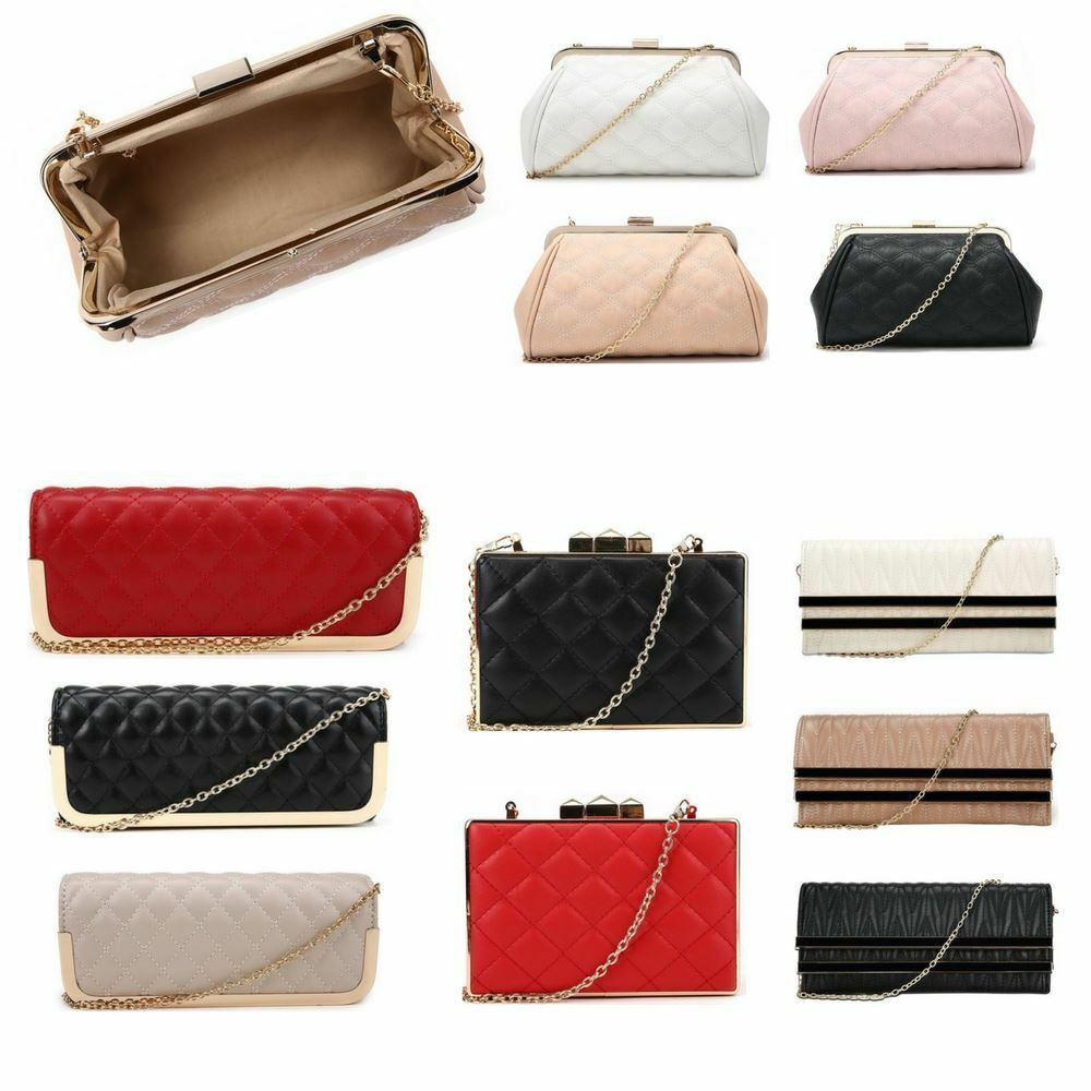 Studded Women Evening Bag Faux Leather Designer Ladies Quilted Prom Party Clutch