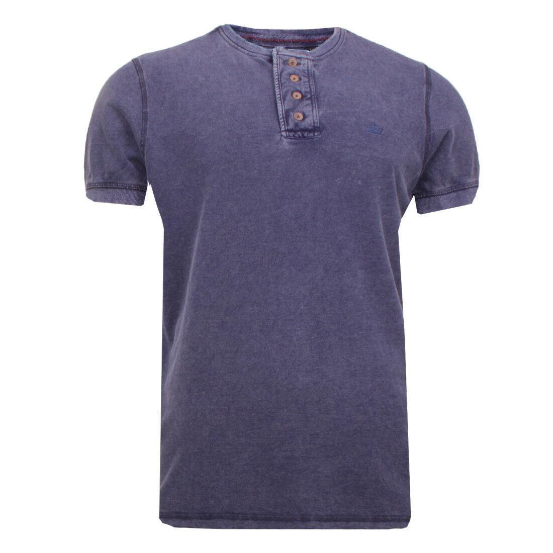Mens Brave Soul Camillow Granddad Collar Grundge T-Shirt
