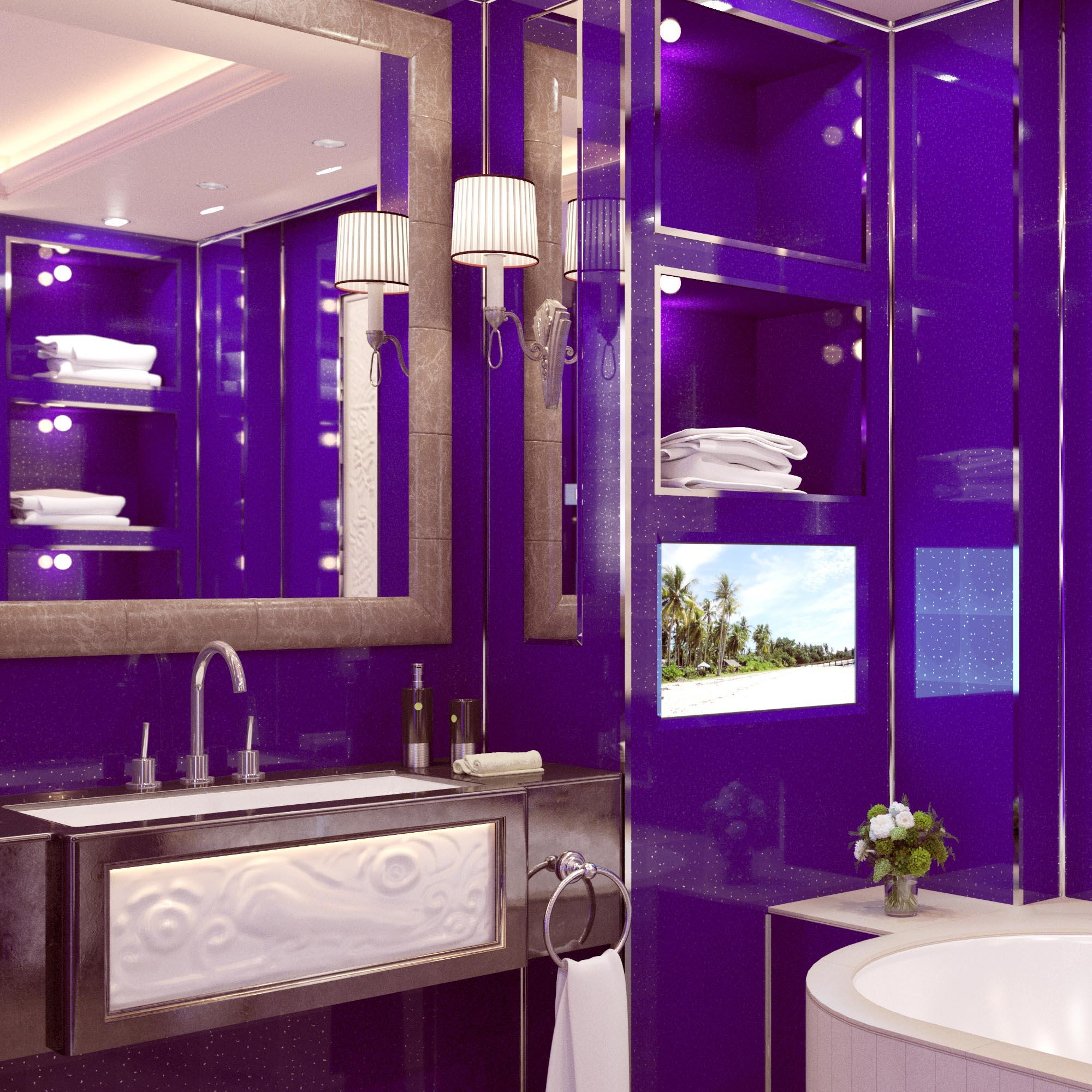 Purple Sparkle Bathroom Wall Panels Wet Wall Cladding ...