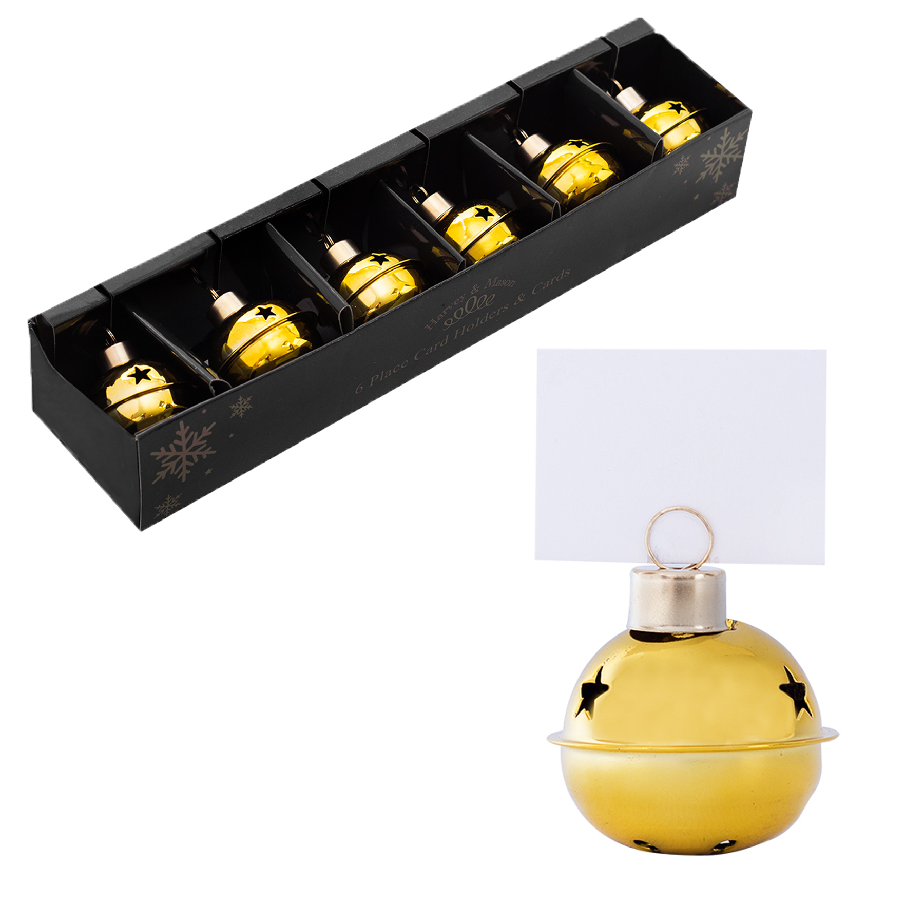 Christmas 6 X Metal Bauble Place Card Holder & FREE Cards