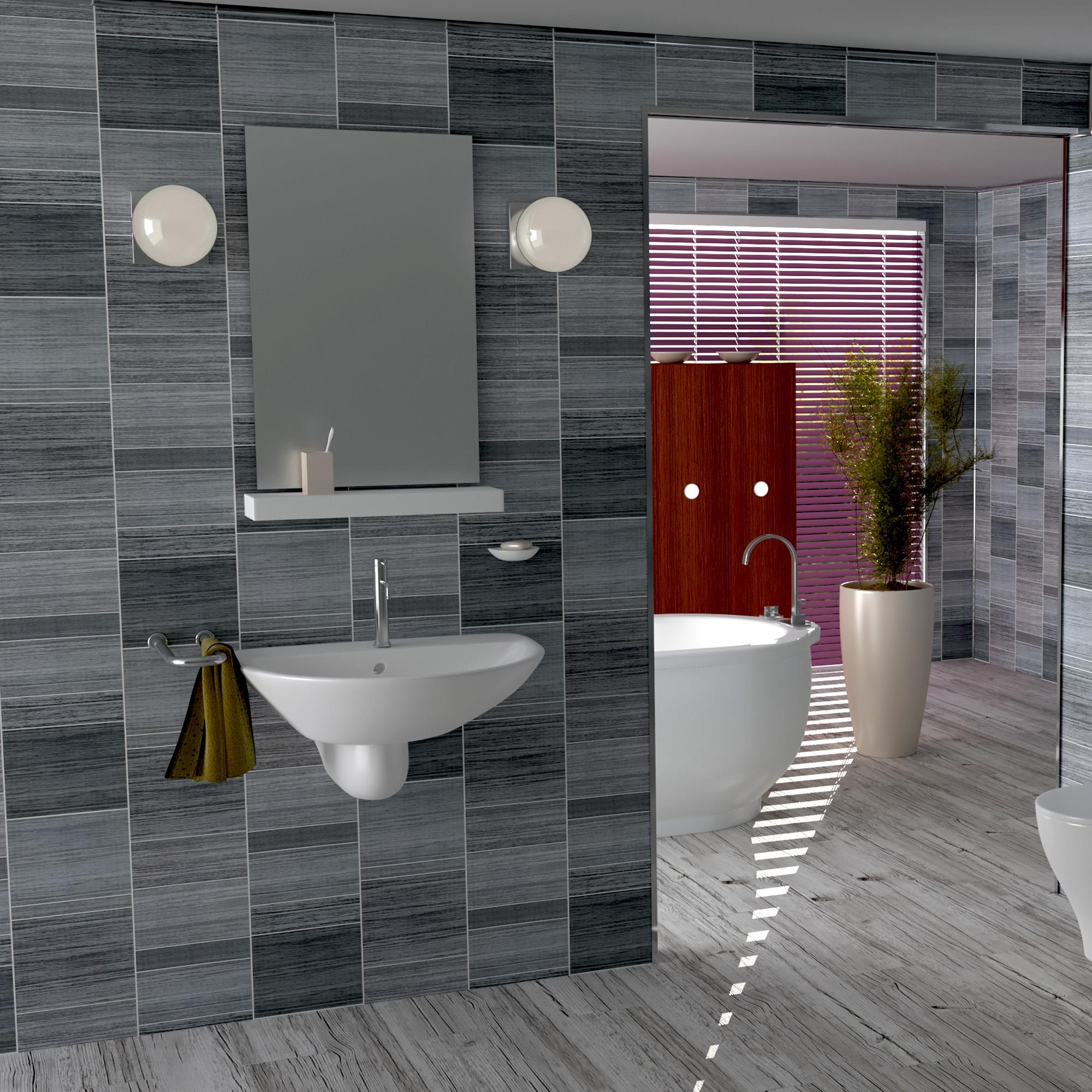 grey executive panels tile effect cladding bathroom