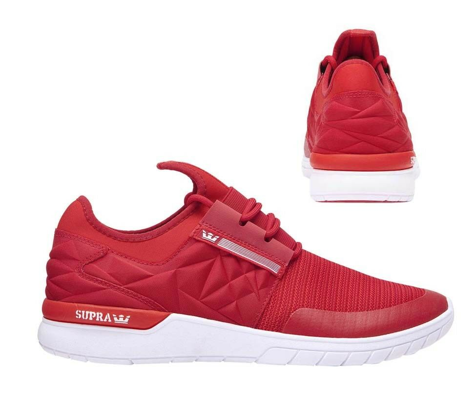 Supra Flow Run Evo Lace Up Mens Casual Running Trainers Red 08342 656 B36B
