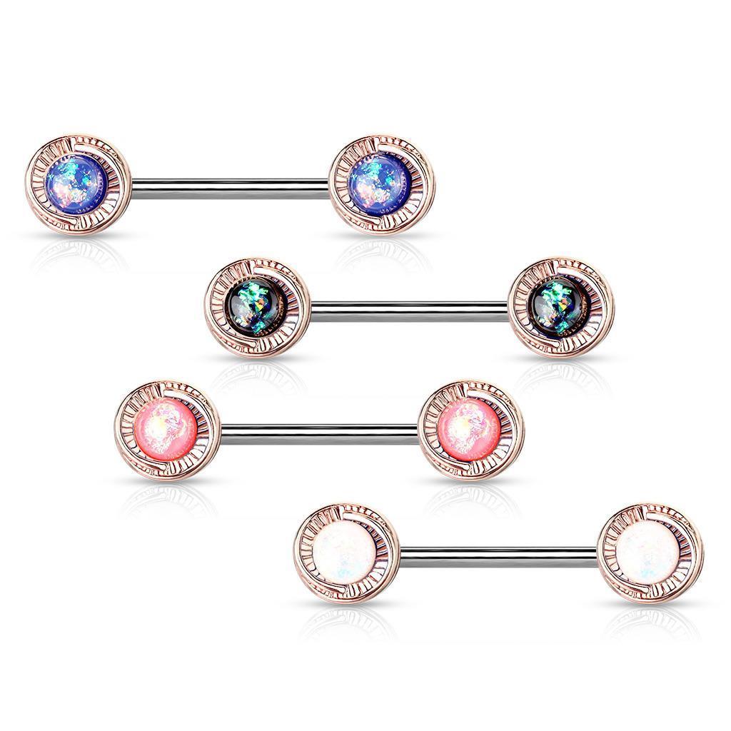 Opal Glitter Centred Rose Gold Flower Ends Nipple Bar