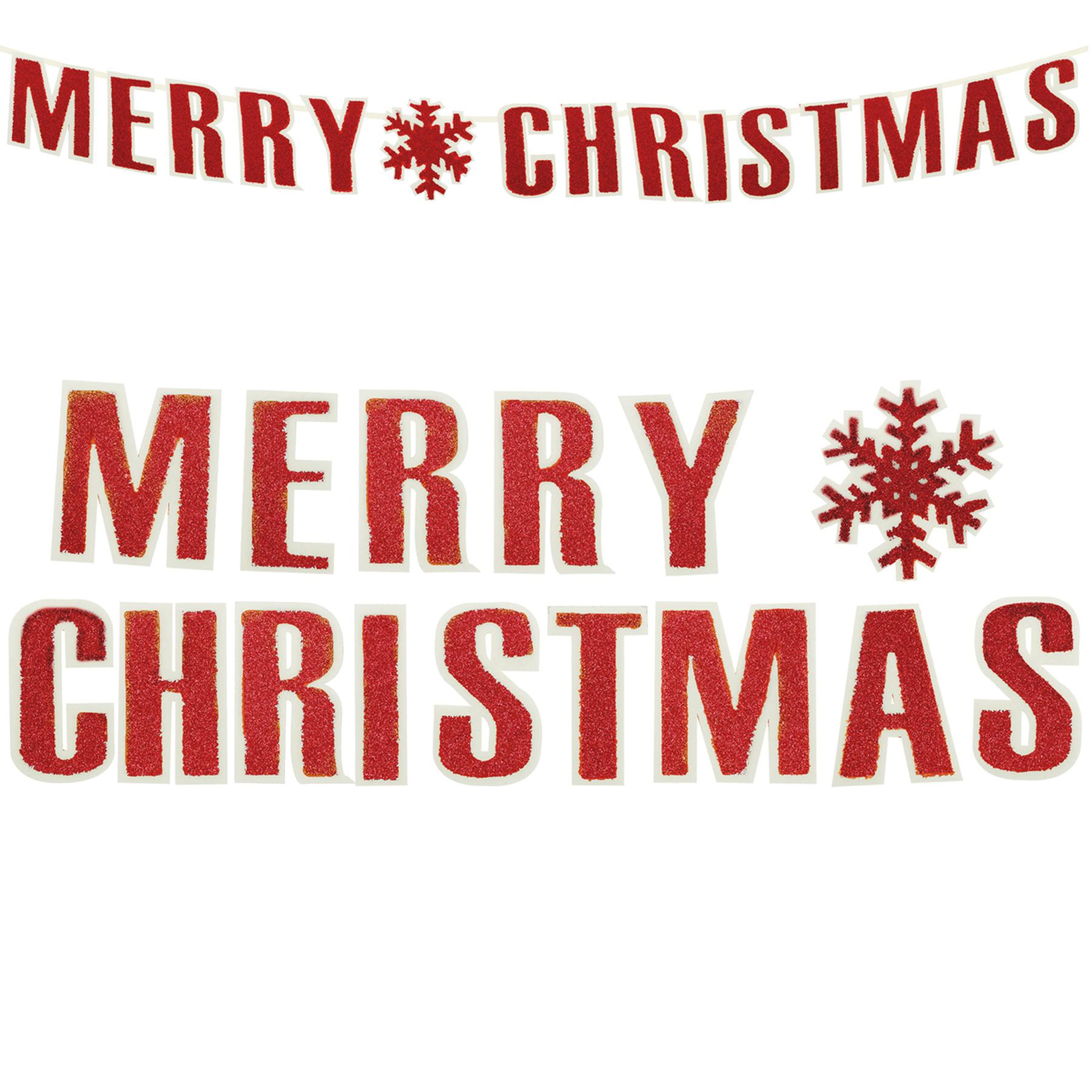 Merry Christmas Felt Garland 1 6m Hanging Decoration Red White Ebay